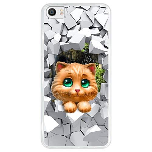 Hapdey Funda Transparente para [ Xiaomi Mi5 ] diseño [ Gatito Gato Mirando Desde una Pared Rota ] Carcasa Silicona Flexible TPU