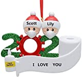 Christmas Ornament Personalized 2-7 Family Members Name, 2020 Quarantine Survivor Family Customized Christmas Decorating Set DIY Creative Gift (Family of 2)