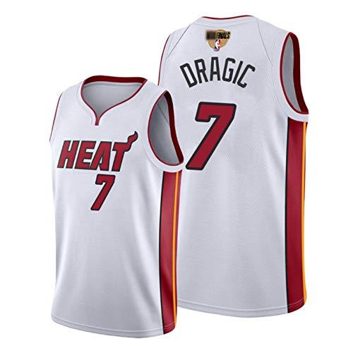 2020 con Finales Logo Finales Baloncesto Jersey, Goran Dragic Miami Heat # 7, sin Mangas Transpirable de Secado rápido Unisex del Ventilador de Jersey S-XXL White-XXL