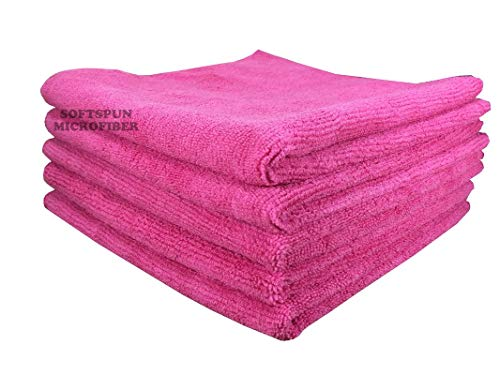 SOFTSPUN Microfiber Cleaning Cloths, 5pcs 30x30cms 340GSM Pink! Highly Absorbent, Lint and Streak Free, Multi -Purpose Wash Cloth for Kitchen, Car, Window, Stainless Steel, silverware.