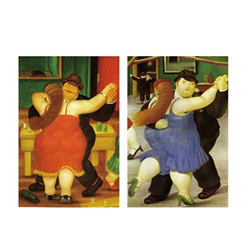 Dipinti su tela di ballerini nordici di Fernando Botero Poster e stampe su tela Quadri astratti divertenti Immagini Cuadros Decor-50x70cmx2pz Senza cornice