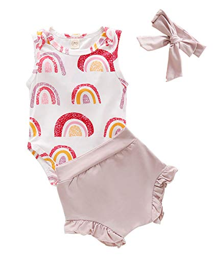 Toddler Baby Girls Clothes Rainbow Print Vest+Short +Headband Outfit 18-24 Months