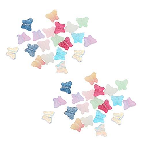 Artibetter 40個セット ガラス 蝶 チャーム アクセサリーパーツ ガラスビーズ チャーム ペンダント ネックレス イヤリング飾り ジュエリー用 手作り用品