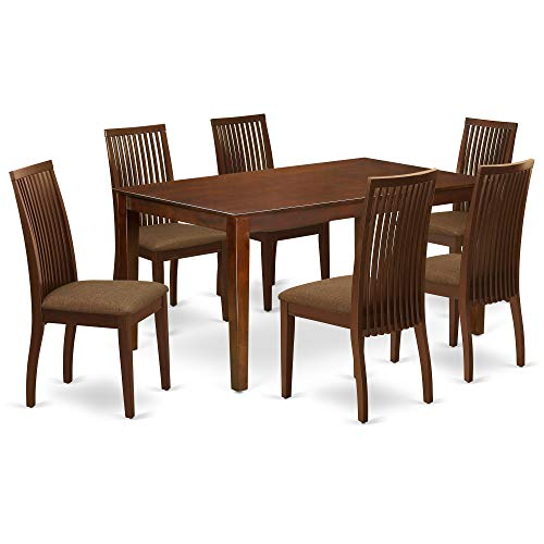 East West Furniture CAIP7-MAH-C Rectangular Set 7 Piece-Linen Fabric Chairs Seat-Mahogany Finish Dining Room Table and Structure