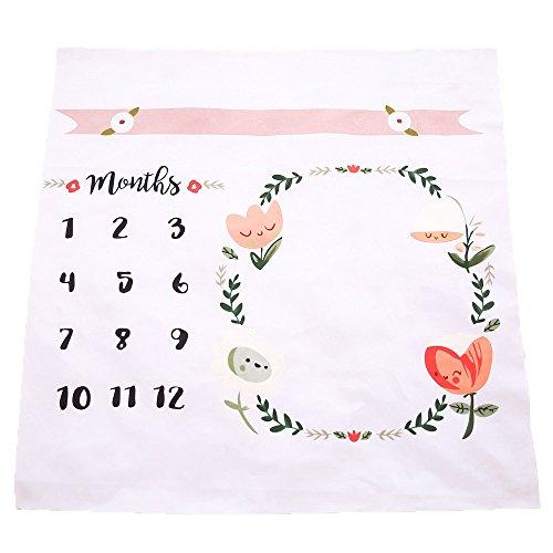 Manta para bebés, telón de fondo para fotografías con impresión de corona y tabla para marcar las etapas del crecimiento de tu bebé mes a mes.
