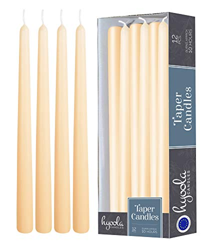 Hyoola 12er Pack Stabkerzen Tropffrei – 10 Stunden Brenndauer – Leuchterkerzen Creme – Unparfümiert – 30 cm Tafelkerzen