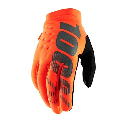 100% Brisker Cold Weather Motocross & Mountain Bike Gloves (MD - FLO ORANGE/BLACK) MTB & MX Racing Protective Gear - Medium