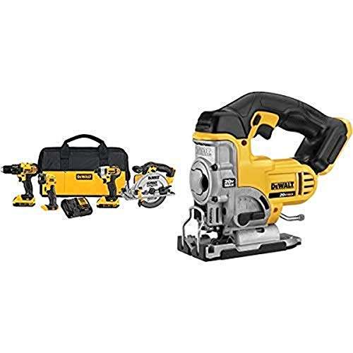 Tools! DEWALT Combo Kit Including Drill, compact drill, portable light, hand saw, and jig saw.