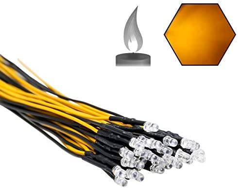 EDGELEC 30pcs 12 Volt 3mm Yellow Flicker LED Lights Emitting Diodes Candle Flickering Lights product image