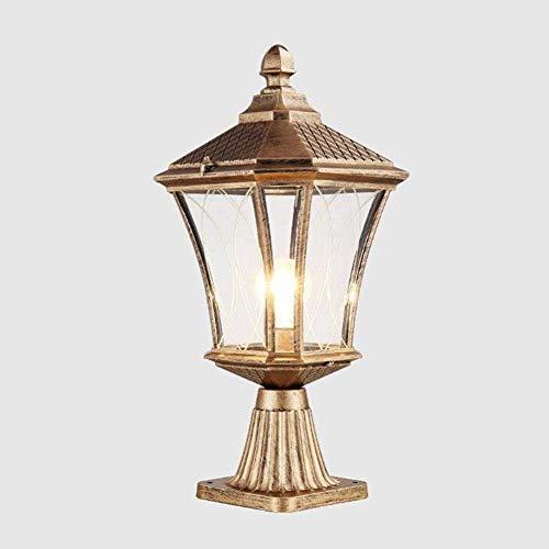 CLX Villa Outdoor decoratieve verlichting, vintage tuin vloerlamp, buitenverlichting, palen gietijzer, retro aluminium sokkellamp, glas lantaarn E27 binnenplaats gazonlicht
