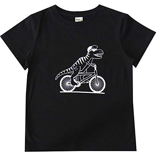 [Bee] 子供服Bee 半袖 半袖Tシャツ プリントTシャツ 女の子 男の子 110cm ダイナソーサイクリング×黒
