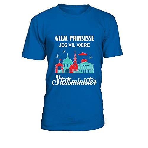 TEEZILY Camiseta Hombre STATSMINISTER - flere Designs - rul Ned - Azul...