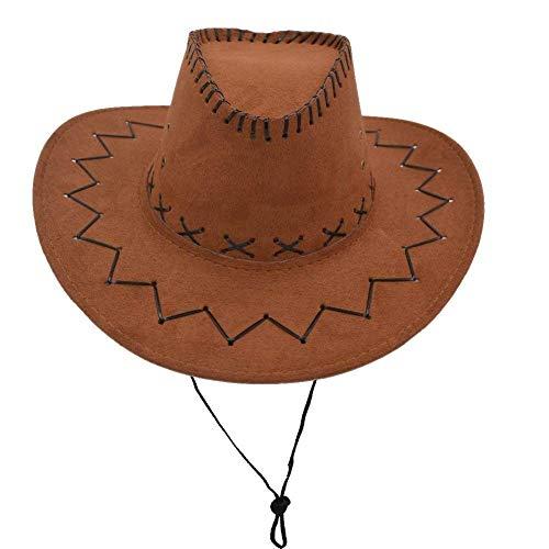 None Western Unisex Erwachsene Leder Wildleder Cowboy Geschenke Für Frauen Hut Breiter Krempe Sonne Kappe Baseball Fashion Outdoor Mützen Hut (Color : Braun, Size : One Size)