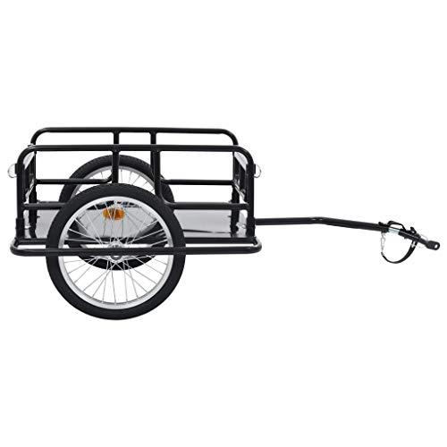 Festnight Remolque para Bicicletas Remolque de Carga para Bici 130x73x48,5 cm Negro