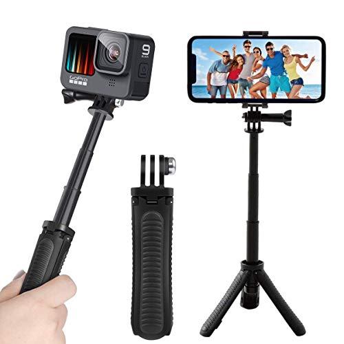 自撮り棒 ミニ三脚 セルカ棒 gopro マウント hero9 8 7 6三脚 スマホ 軽量三脚 3段階伸縮 iPhone/Android スマホ Insta360 ONE R・Cameres、DSLR、OSMO ACTIONのほとんどのスポーツカメラに対応