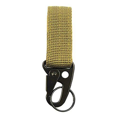 Mousqueton, Beetest® Courroie tactique multifonctionnelle en nylon de sangle avec le mousqueton Crochet Boucle Porte-clés Porte-clés Libération rapide avec Crochet et Boucle Bande Kaki