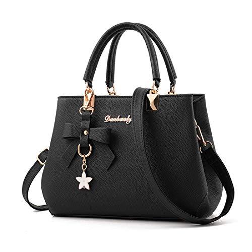 SPFTOY Handtaschen Damen Weiche Handtasche Taschen Beutel Top Handle Bags Tragetaschen Messenger Bag Damen-Schwarz