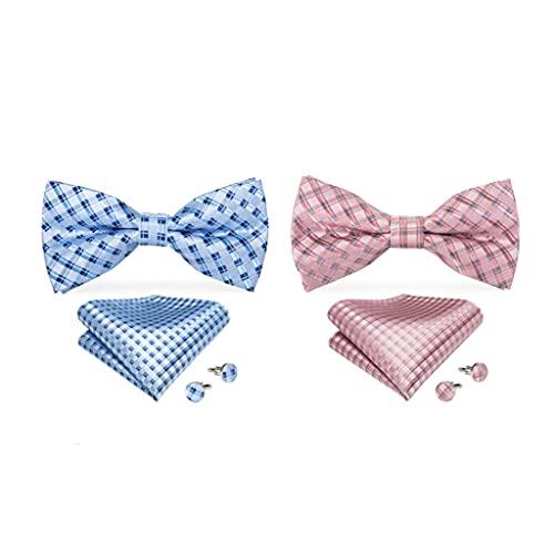 YFQHDD Azul + Pink Corbata Manga puños Conjunto Vintage Collar Masculino, Ropa de Moda Hombre joyería Corbata 2 Paquetes (Color : Blue+Pink, Size : One Size)