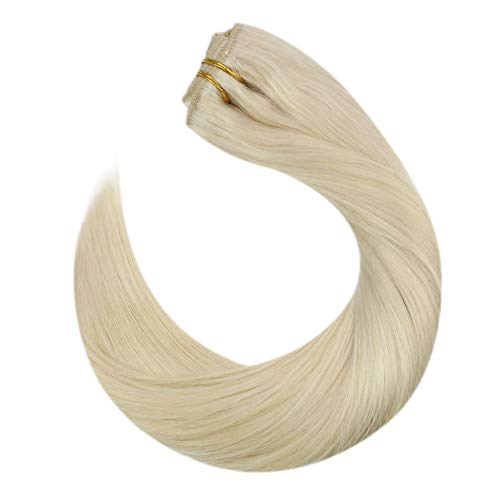 Ugeat Silky Straight Light Blonde Hair Extensions with Double Weft