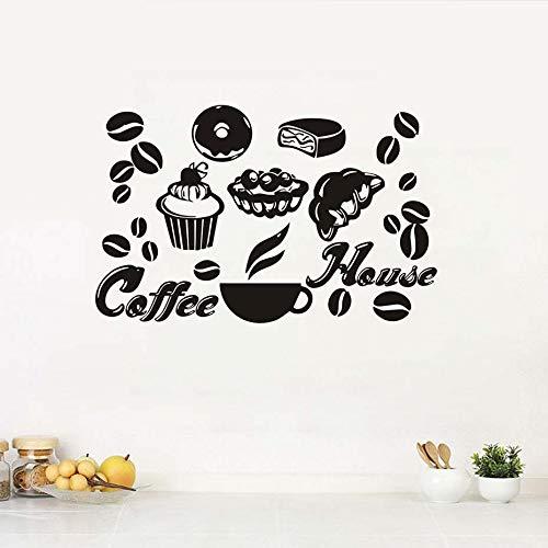 Kaffee Dessert Brot Vinyl Aufkleber Für Küche Wandkunst Aufkleber Für Restaurant Removable Wallpaper Murals Wohnkultur Esszimmer 43x69cm