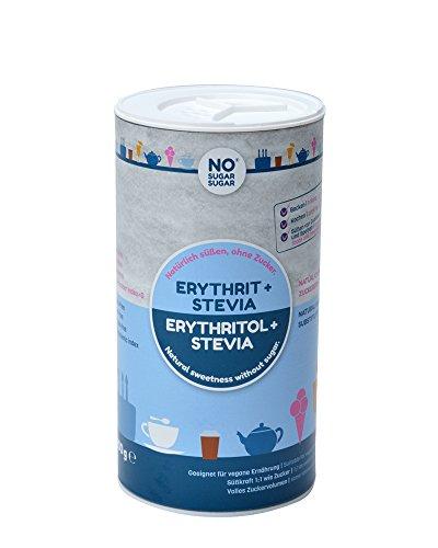 NoSugarSugar, Erythrit-(Erythritol)-Stevia-Blend, natürlicher Zuckerersatz, 400 g Streudose