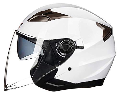 KKAAMYND Motocicleta 3/4 Cara Abierta Medio Casco Modular Doble Visera Crash Jet Casco de Crucero helicóptero Mofa Vial de Las Motos ciclomotor Adultos ECE Homologado