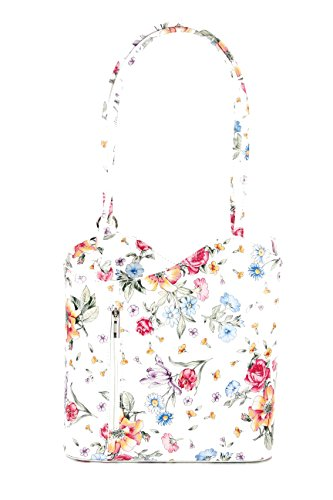 Belli ital. Ledertasche Backpack 2in1 Rucksack Handtasche Schultertasche - Freie Farbwahl - 28x28x8 cm (B x H x T) (Weiß blume)