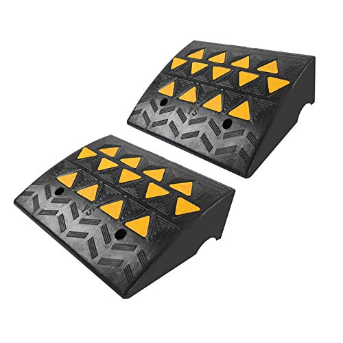 Greensen Heavy Duty Threshold Ramp Professional Rubber Curb Ramps Loading Ramps Motorcycle Ramp with Yellow Reflective Film for Driveway Vehicles SUV Truck Forklifts 2 Pack 19 x 14.5 x 6in