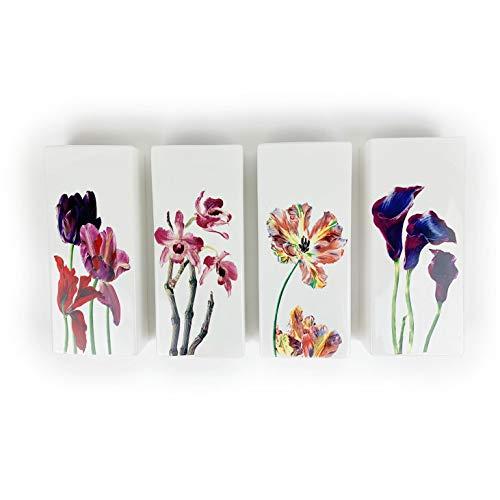 Juego de 4 humidificadores de cerámica Red Flowers, planos para fijación en el radiador, radiador, difusor de agua, jarrón de pared, 330 a1678