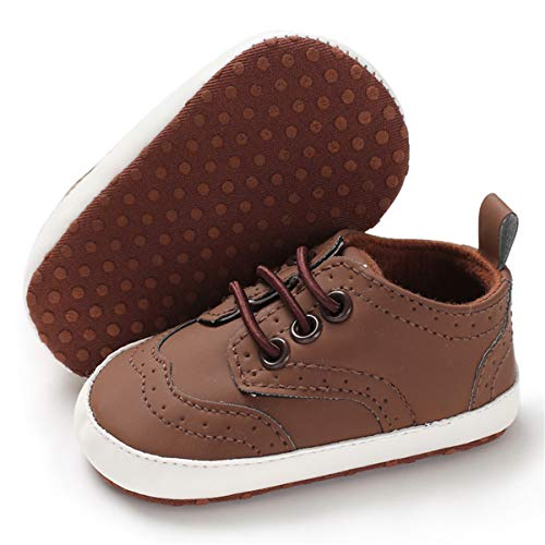 BENHERO Baby Boys Girls Oxford Shoes Soft Sole PU Leather Moccasins Infant Toddler First Walkers Crib Dress Shoes Sneaker (12-18 Months Infant),F-Brown
