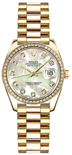 Rolex Lady-Datejust 26 Mother of Pearl Diamond Dial Gold Watch Ref. 179138