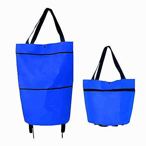 Xooz Bolsas Plegables con Cremallera de Dos etapas,Carro de la Compra Plegable 2 en 1 con Ruedas Bolsas de la Compra Reutilizables para IR de Compras a supermercados, Viajes,Azul