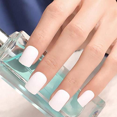 CLOAAE Girls Matte Surface Individuality Fake Nails Medium Length Square Nail Art Tips with Women Simple Color Fashion False Nails