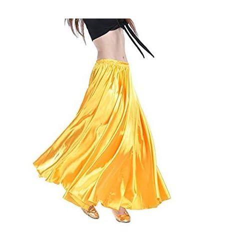 Calcifer - Falda para danza, satén, larga, con vuelo, para danza ...