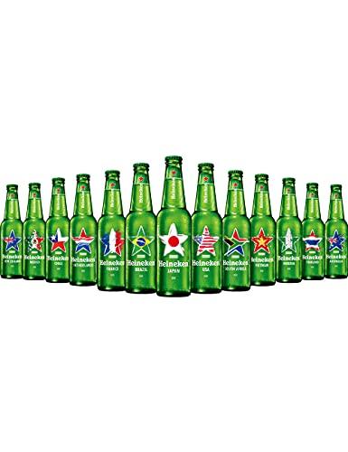 """【Amazon.co.jp限定】【夏限定】[瓶ビール]ハイネケンワールドデザイン瓶オリジナルグラス""""STARGLASS""""1個付[ラガータイプ日本330ml×8本][ギフトBox入り]"""