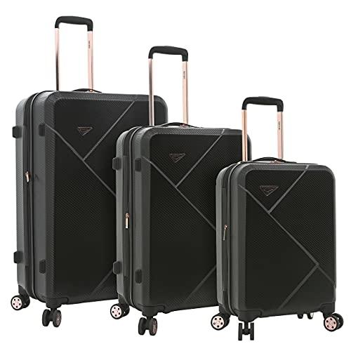 kensie Women's Dawn Hardside 3-Piece Spinner Luggage Set, Black, (20/24/28)