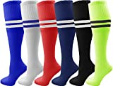 Kids Soccer Socks, 6 Pairs for Boys Girls, Youth Knee High Athletic Sports Football Gym School Team Pack for Children (Medium, Assorted)