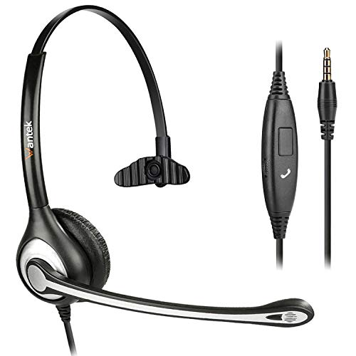 Wantek Headset Handy Mono mit Noise Cancelling Mikrofon, Smartphone Kopfhörer 3,5mm Klinke Für iPhone Samsung Huawei HTC LG ZTE BlackBerry Android Mobiltelefon Laptop PC LKW-Fahrer (F600M1)