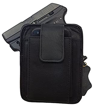 Black Leather Concealment Gun Holster Fits Ruger LCP 380 and Holds Cell Phone All-in-one