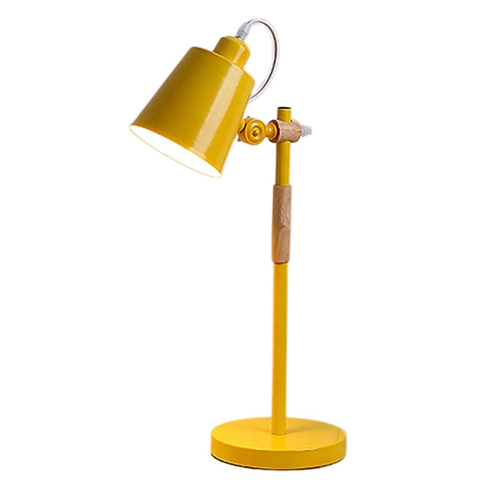 届ける弁護知恵北欧インテリア眼の保護デスクランプ、ベッド電源スイッチ照明器具E27と一緒に勉強ルーム読書ルーム (Color : Yellow 7W warm light)