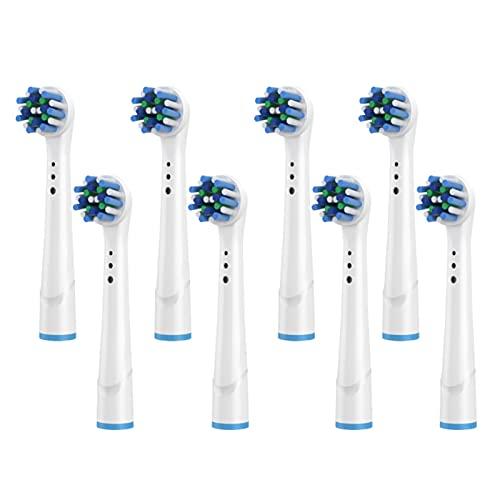Agnus 8PCS Cepillos Cabezales Ajuste para el cepillo de dientes oralb, compatible con Pro Genius y Smart, Limpieza de múltiples ángulos, Dientes irregulares YE644 / 50A (Color : 8pcs)