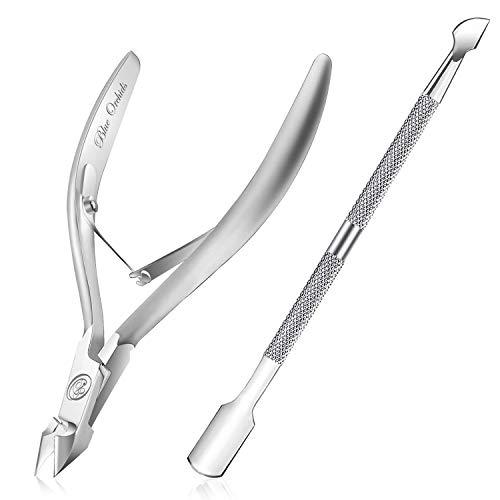 Tronchese per cuticola con spintore in acciaio inossidabile di livello professionale Pusher Remover & Cutter-Durable Manicure e strumento per pedicure per unghie e unghie dei piedi