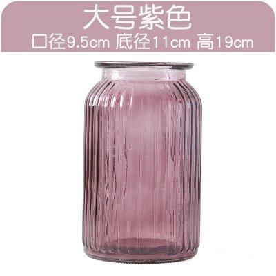 XXAICW Transparente Wasserhyazinthe Vase kleine Glasvasen Glas Flasche Vase Hydrokulturpflanzen Blumentopf Narzissen Blume , Große lila vase , Medium