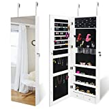 SUPER DEAL Upgraded 2in1 Jewelry Cabinet 47.3' H Wall/Door Mounted Jewelry Armoire with 6 Shelves 2 Drawers Jewelry Organizer with Full Length Mirror