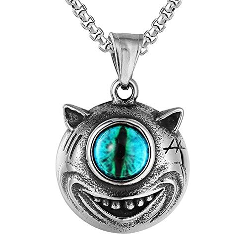 EzzySo Anhänger einäugiger Monster, gotische Wikinger, Titan-Stahl-Halskette, geeignet für Ritter, Halloween, Partys, Herren- und Damenurlaubsgeschenke (einschließlich Kette),A