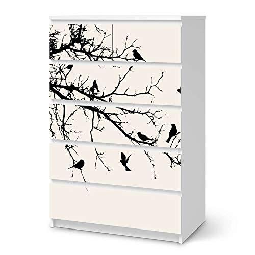 creatisto Möbelfolie passend für IKEA Malm Kommode 6 Schubladen (hoch) I Möbelsticker - Möbel-Tattoo Sticker Aufkleber I Deko Ideen Wohnung für Schlafzimmer, Wohnzimmer - Design: Tree and Birds 1