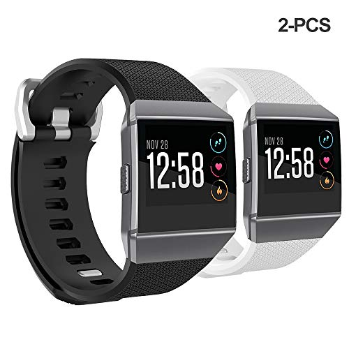 Bossblue Compatible Fitbit Ionic Bands for Women Men Large Small,Soft Silicone Waterproof Breathable Replacement Accessories Sport Strap for Ionic Smartwatch.(Black/White 2 Pack, Large(6.7