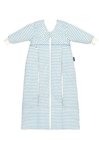 Set Odenwälder Prima Klima Thinsulate Babyschlafsack & Windel Blaubaer, Winterschlafsack mit Ärmel abknöpfbar, mitwachsender Thermo Schlafsack für kalte Tage, Größe:110-130, Design:stripes bleu