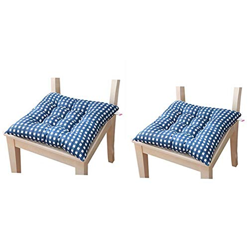 Cojines de asiento para silla de comedor, jardín, cocina, comedor, silla, almohadones, paquete de 2 (azul oscuro)