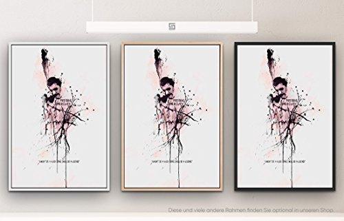 Paul Sinus Art Freddie Mercury 90x60cm auf Leinwand im Schattenfugenrahmen Natur schlicht - kann bspw. mit Einer Lasur weiterbearbeitet Werden